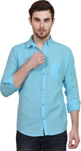 b5328fe9 BRULE Men s Solid Casual Linen Light Blue Shirt Best Price in India ...