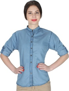YASMIN CREATIONS Girls Solid Casual Denim Light Blue Shirt