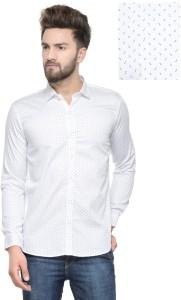 Being Fab Men's Printed Casual White Shirt