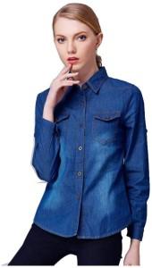 The Earth Girls Solid Casual Denim Blue Shirt