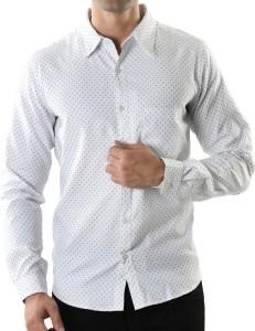 Aady Jones Men's Polka Print Casual White Shirt