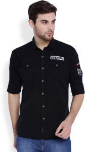 La Seven Men's Solid Casual Black Shirt