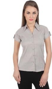 Protzen Women's Striped Formal Brown Shirt