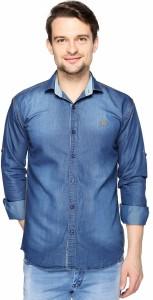Lafantar Men's Solid Casual Denim Blue Shirt