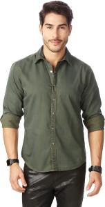 Rodid Men's Solid Casual Denim Green Shirt