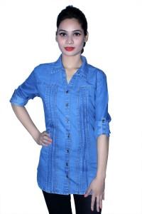 Cherry Clothing Women's Solid Casual Denim Blue Shirt