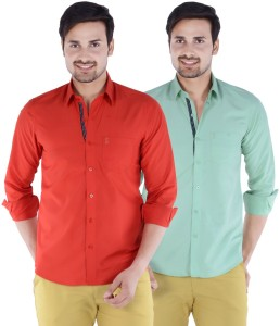 0c6fbe34ba2 S9 Men s Solid Casual Red Green Multicolor Shirt Pack of 2 Best ...