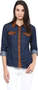 Stylestone Women's Solid Formal Denim Blue Shirt