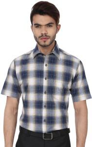 Reevolution Men's Checkered Casual Blue, White Shirt