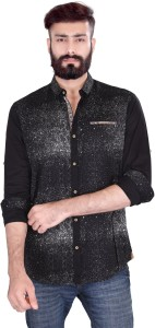 Vintage Soul Men's Printed Casual Black Shirt