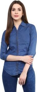 Mayra Women's Solid Party Denim Dark Blue Shirt