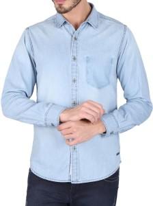 Caricature Men's Printed Casual Denim Dark Blue Shirt