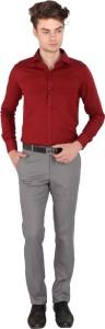 Magson Men's Solid Formal Linen Maroon Shirt