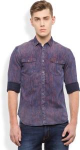 Locomotive Men's Printed Casual Dark Blue, Red Shirt