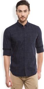 Locomotive Men's Solid Casual Dark Blue, White Shirt