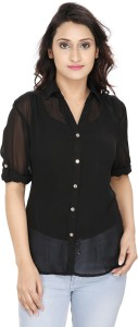 2 Day Women's Solid Casual Black Shirt