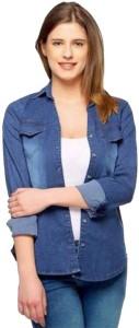 YASMIN CREATIONS Women's Solid Casual Denim Blue Shirt