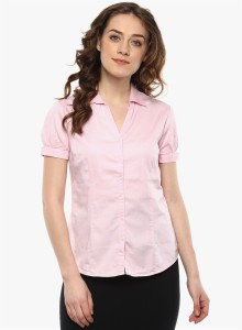 Miss Forever Women's Solid Formal Pink Shirt