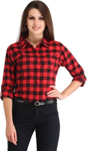 ALC Creations Women's Checkered Casual Red, Black Shirt