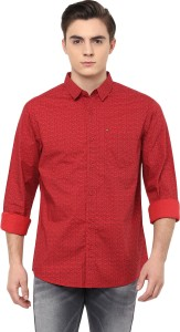 Spykar Men's Printed Casual Red Shirt
