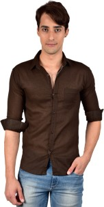 6afbf3d1 BRULE Men s Solid Casual Linen Brown Shirt Best Price in India ...