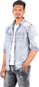Showoff Men's Printed Casual Denim Dark Blue Shirt