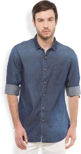 Locomotive Men's Solid Casual Dark Blue Shirt