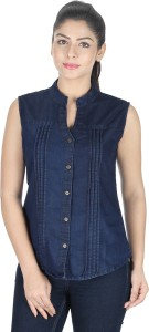 YASMIN CREATIONS Women's Solid Formal Denim Blue Shirt