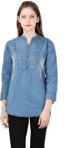 Classvee Women's Self Design Casual Denim Blue Shirt