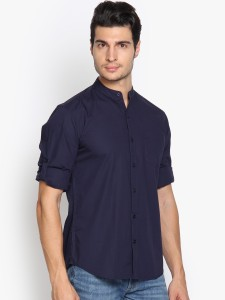 Highlander Men's Solid Casual Dark Blue Shirt