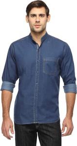 FX Jeans Co Men's Solid Casual Denim Dark Blue Shirt