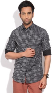 Arrow New York Men's Printed Formal Black Shirt