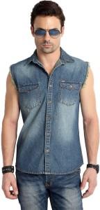 Rodid Men's Solid Casual Denim Blue Shirt