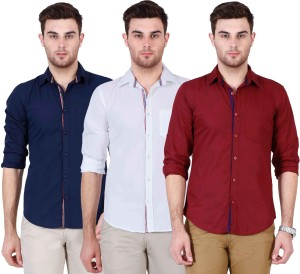 Ojass Men's Solid Casual Maroon, White, Dark Blue Shirt