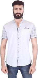 Vintage Soul Men's Checkered Casual White Shirt