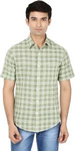 Reevolution Men's Checkered Casual Green, White Shirt