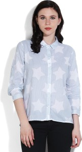 United Colors of Benetton Women's Printed Casual White, Light Blue Shirt