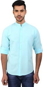 Dennis Lingo Men's Solid Casual Light Blue Shirt