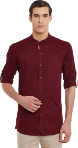 Wild Hunk Men's Solid Casual Maroon Shirt