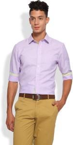 Brooklyn Blues Men's Self Design Casual Purple Shirt