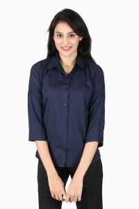 Shivabhi's Women's Solid Formal Dark Blue Shirt