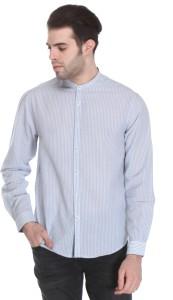 Reevolution Men's Striped Casual Blue, White Shirt