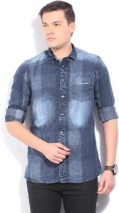 LAWMAN Pg3 Men's Self Design Casual Denim Blue Shirt