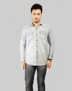 Mitra Creations Men's Solid Casual Denim Light Blue Shirt