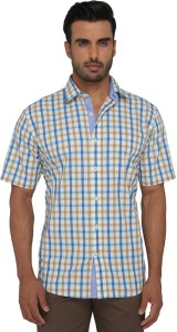 Greenfibre Men's Checkered Casual Blue Shirt
