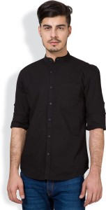 Highlander Men's Solid Casual Black Shirt