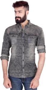 Vintage Soul Men's Printed Casual Denim Black Shirt