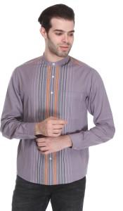 Reevolution Men's Striped Casual Purple Shirt