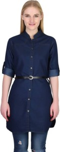 YASMIN CREATIONS Women's Solid Formal Denim Dark Blue Shirt