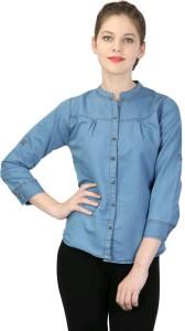 YASMIN CREATIONS Women's Solid Casual Denim Light Blue Shirt